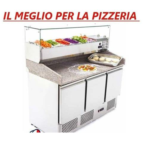 Banco pizza Saladette Tavolo 3 sportelli refrigerato con piano in granito - vetrina portacondimenti 6xGN1/4