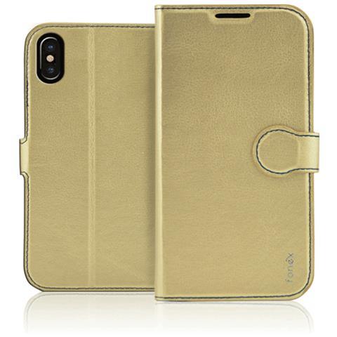 FONEX Flip Cover Custodia per iPhone X Colore Oro