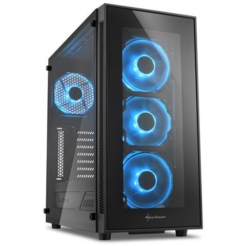 SHARKOON Case TG5 Middle Tower ATX / Micro-ATX / Mini-ITX 2 Porte USB 3.0 Colore Nero / Blu (Finestrato)