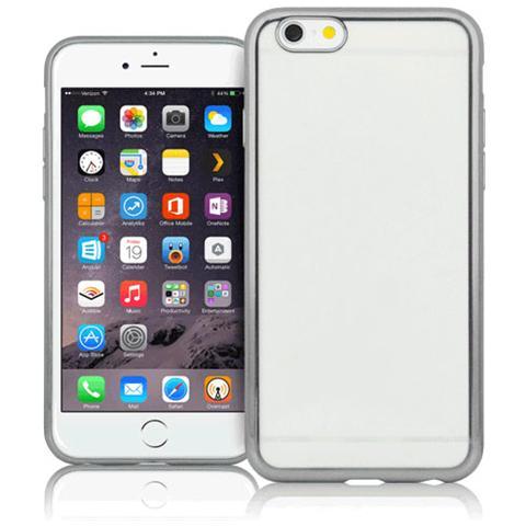 FONEX Sparkling Cover in Morbido TPU con Bordi ad Effetto Metalizzato per iPhone 6/6S Colore Trasparente / Argento