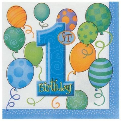 Tovaglioli Azzurri Con Numero 1 E Palloncini Per Primo Compleanno Bambino
