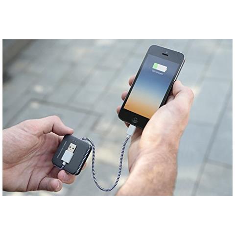Native Union JCABLE-L-GRY, Grigio, MP4, Smartphone, Tablet, iPhone 6, 6 Plus, 5s, 5c, 5, 800 mAh, USB