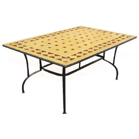 Tavolo Da Giardino In Acciaio Con Piano In Marmo Con Decorazione Mosaicale
