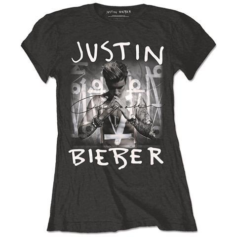 ROCK OFF Justin Bieber - Purpose Logo Black (T-Shirt Donna Tg. M)