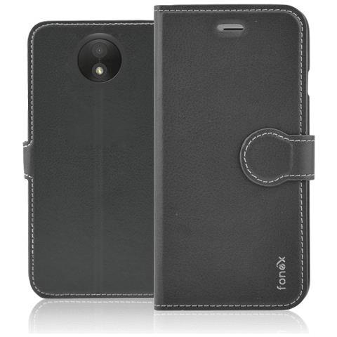 FONEX Identity Book Custodia a Libro per Motorola Moto C Plus Colore Nero
