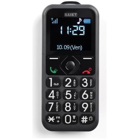 """SAIET Pronto Senior Phone Nero Display 1.8"""" +Slot MicroSD con Tasti Grandi + Tasto SOS - Italia"""