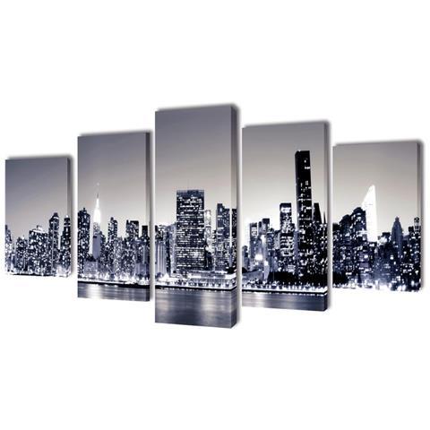 vidaXL 5 Pz Stampa Su Tela Da Muro Panorama New York Monocromatico 200x100 Cm