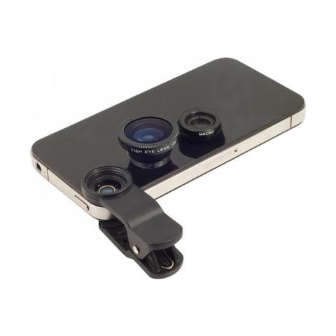 MWS Set 2 Lenti Obiettivo Smartphone Pinza Universali Fisheye - Nero