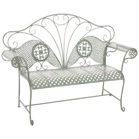 Panchina Da Giardino Stile Romantico Cp504 58x140x105cm Colore Verde Antico