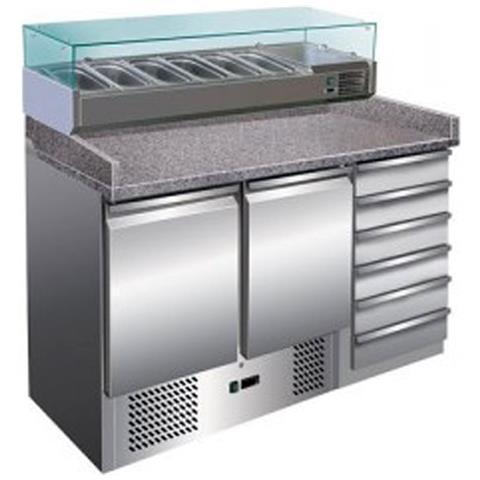 Banco pizza refrigerato con piano in granito e vetrina portacondimenti (Gn 1/4). Cm. 142 - Profondità cm. 70