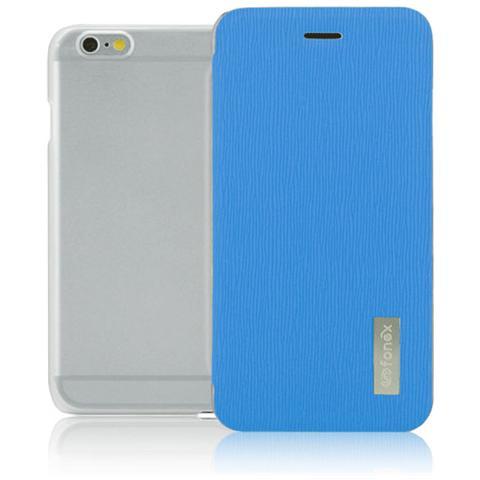 FONEX Crystal Slim Custodia a Libro con Back Trasparente per iPhone 6Plus / 6S Plus Colore Azzurro