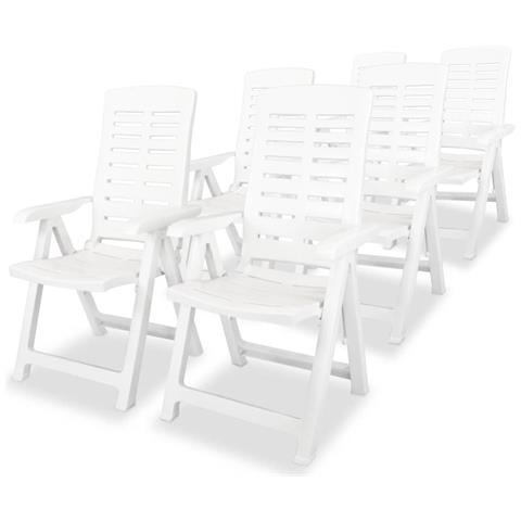 Sedie Reclinabili Da Giardino 6 Pz 60x61x108cm Plastica Bianche