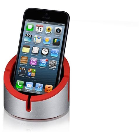 Just Mobile AluCup desktop stand per iPhone red