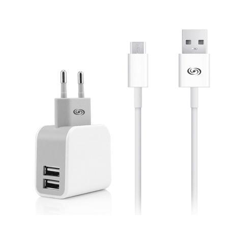 FONEX Kit Carica da Rete 2USB 3.4A con Cavo Dati per Micro USB Colore Bianco