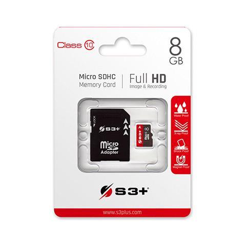 S3+ MicroSDHC 8 GB Classe-10 con Adattatore SD