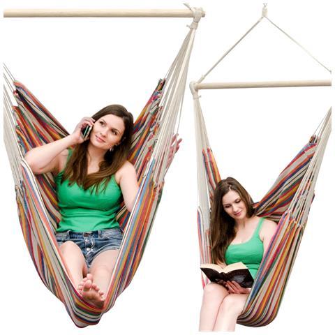 Amaca Per Sedersi 2 Persone 150kg Sedile Sospeso A 2 Posti Poltrona Di Cotone 185x130cm Incl