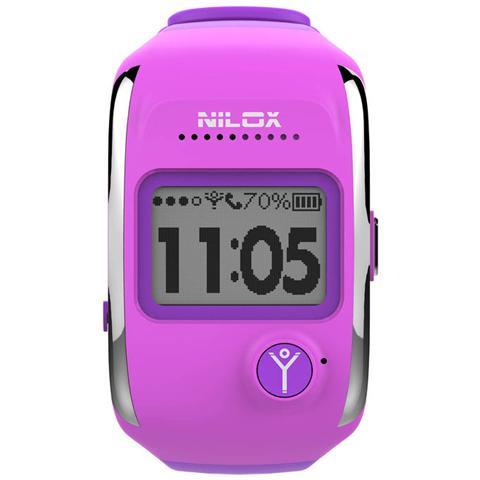 NILOX Smartwatch Bodyguard Notifiche Chiamate e Antifurto con Localizzatore GPS per Android e iOS Colore Porpora - Europa