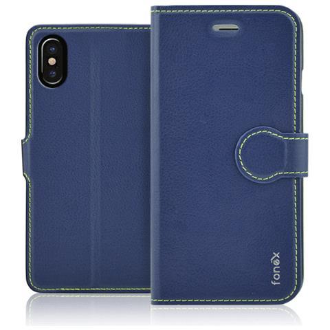 FONEX Flip Cover Custodia per iPhone X Colore Blu