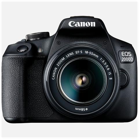 Kit Fotocamera EOS 2000D Kit + Obiettivo EF-S 18-55 IS II Sensore CMOS 24.1 Mpx Display 3'...