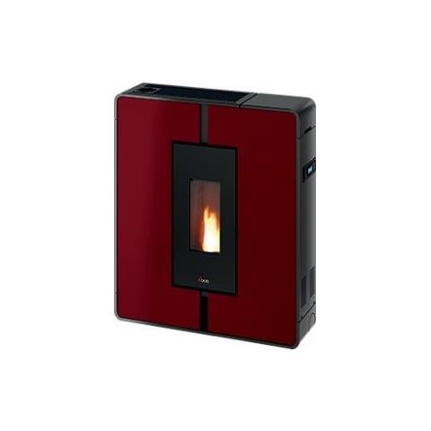 Stufa a Pellet Tile 3 Plus Potenza Termica 10 kW 240 m3 Riscaldabili Colore Metallo Rosso