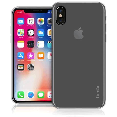 FONEX Inv Soft Case Ultra Sottile 0,2 mm in Morbido TPU per Apple iPhone X Colore Trasparente