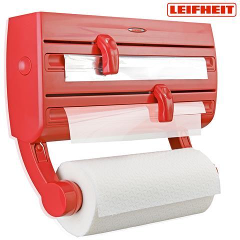 Portarotolo Da Parete Per 3 Rotoli Plastica Cucina 10x41x19 Cm Rosso Leifheit