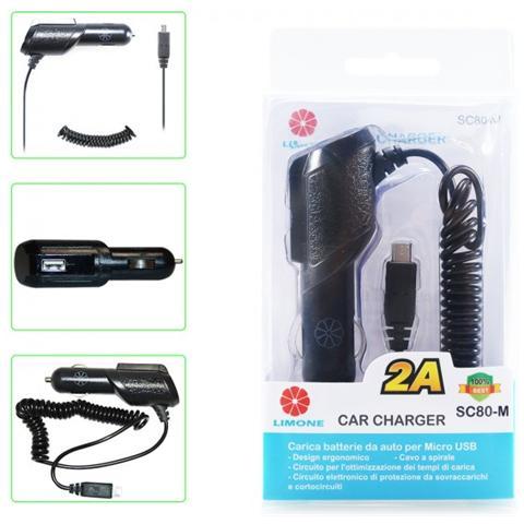 Limone 2a 1 Usb Micro-usb Auto Caricabatterie Da Auto Con Cavo Integrale