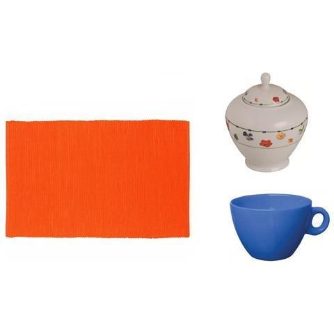 Tovaglietta Cotone Colore Arancione + Tazza The Colore Azzurro + Zuccheriera in porcellana