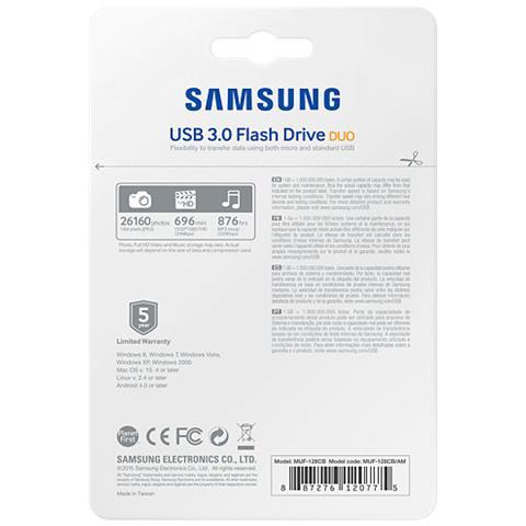 MUF-128CB, Nero, Argento, USB 3.0 / Micro-USB, 0 - 60 C, -10 - 70 C, Cuffia, Box
