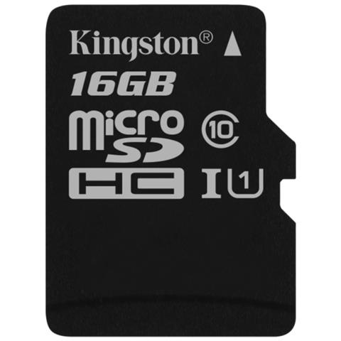 KINGSTON MicroSD da 16 GB Velocità UHS-I Classe 10 fino a 80MB / s in lettura