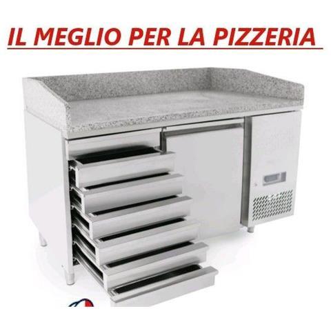 Banco pizza 1 porta acciaio inox + cassettiera con piano in granito