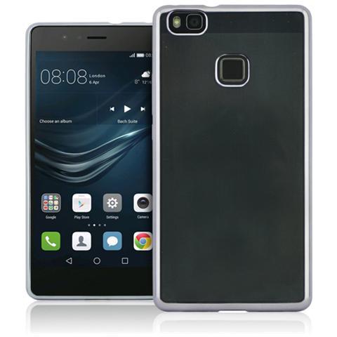 FONEX Sparkling Cover in Morbido TPU con Bordi ad Effetto Metalizzato per Huawei P9 Lite Colore Trasparente / Argento