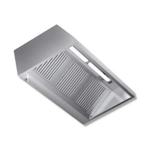 Cappa 140x140x45 Acciaio Inox Parete Motore Luci Cucina Ristorante Rs7495