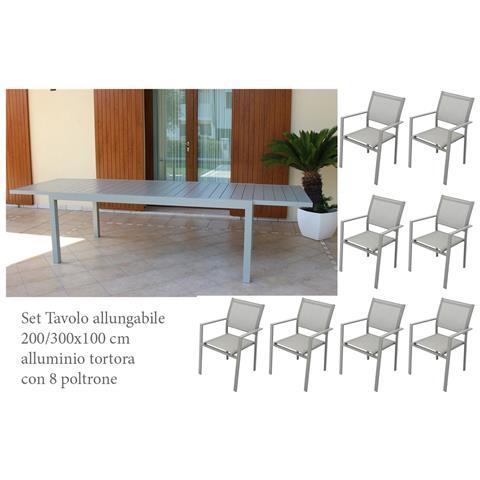 Image of Set Tavolo Giardino Rettangolare Allungabile 200/300 X 100 Con 8 Poltrone In Alluminio Tortora Da Esterno Giardino