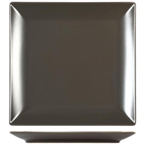 H&H Piatto Stoneware Boston Marron Piano 24x24 Stoviglie
