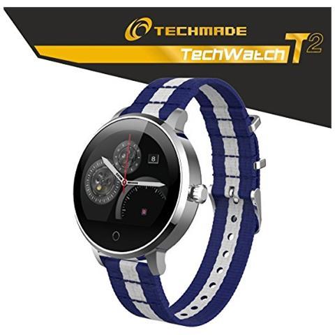"Techmade Smartwatch Techwatch T2 Display 1.22"" Bluetooth con Cardiofrequenzimetro Incluso Blu / Bianco – Italia"
