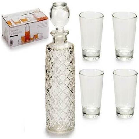 Set Bottiglia In Vetro Incisa + 4 Bicchieri Bicchierini Chupito Liquore