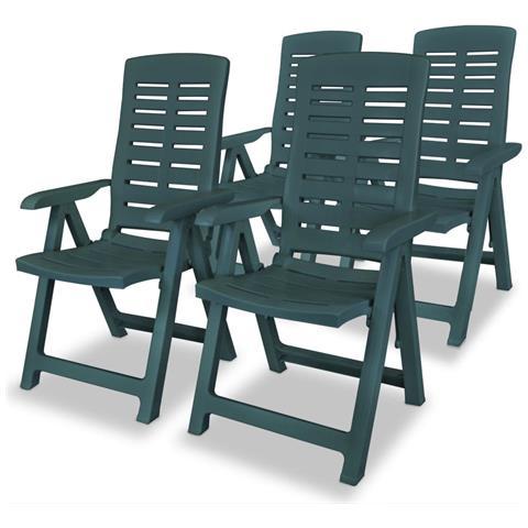 Sedie Reclinabili Da Giardino 4 Pz 60x61x108 Cm Plastica Verdi