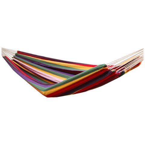 Amaca Xxl Per 2 Persone A Righe Multicolor Arcobaleno 400x160cm Supporta Fino A 150 Kg 100% Coto