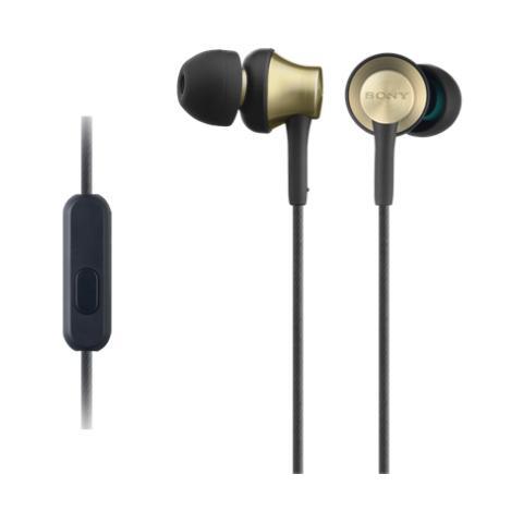 Sony Cuffie intrauricolari con involucro in ottone, driver al neodimio da 12 mm e telecomando e microfono in linea