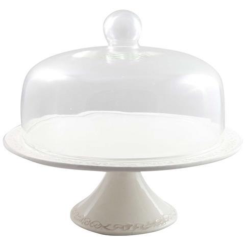 Tortiera In Porcellana Bianca Shabby Con Coperchio In Vetro L35xpr35xh30 Cm