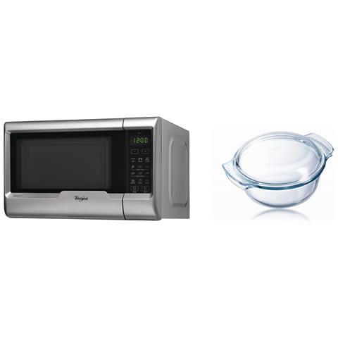 Forno Microonde con Grill Capacità 20 Litri Potenza 700 Watt Colore Silver + Pirofila con Coperchio 1.5 Litri