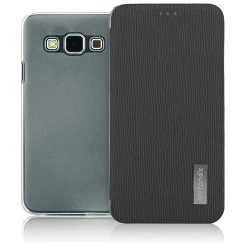 FONEX Crystal Slim Custodia a Libro con Back Trasparente per Galaxy A5 (6) Colore Nero