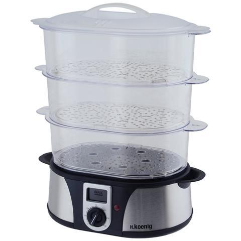 Vaporiera per Cucina Nera e Argento Plastica e Metallo 1000 W VAP12