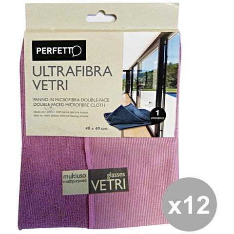 Perfetto Set 12 Panno Vetri Ultrafibra 40x40 0319a Attrezzi Pulizie