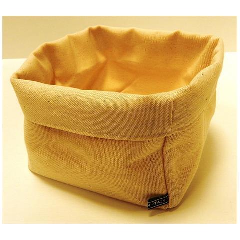 FIMEL Cestino Pane In Tessuto Di Cotone Colore Beige Misura 18 X 18 X H. 14 Cm