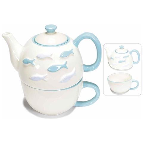 Set Tazza E Teiera Sovrapponibili In Ceramica Bianca Con Pesciolini Azzurri Dipinti A Mano.