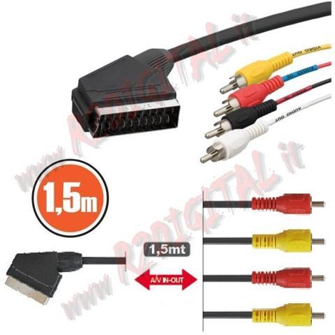 r2digital Cavo Scart Ad Svhs 1,5mt 21pin Con 4 Rca Audio E Video Rgb Decoder Monitor Tv Adattatore Convertitore