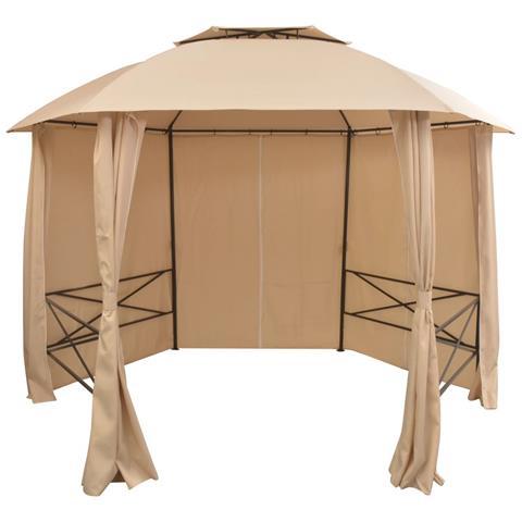 Gazebo Padiglione Da Giardino Con Tende Esagonale 360x265 Cm