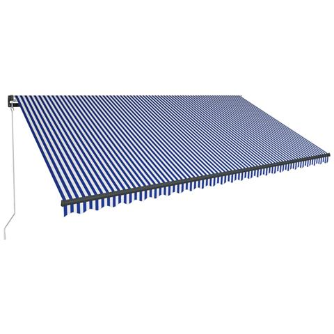 Tenda Da Sole Retrattile Manuale Con Led 600x300cm Blu E Bianca